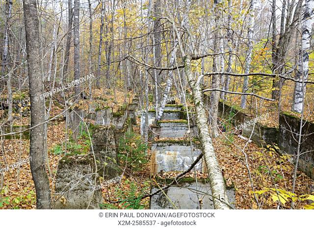 Remnants of the sawmill in the abandoned village of Livermore during the autumn months. This was a logging village in the late 19th and early 20th centuries...