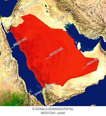 Highlighted satellite image of Saudi Arabia