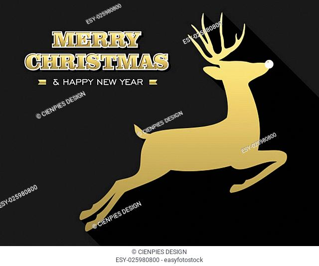 Merry Christmas Happy New Year design in gold and black with reindeer silhouette. Ideal for holiday greeting card, poster or web. EPS10 vector