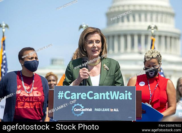 Speaker of the United States House of Representatives Nancy Pelosi (Democrat of California) offers remarks during a rally organized by the €œPaid Leave for...