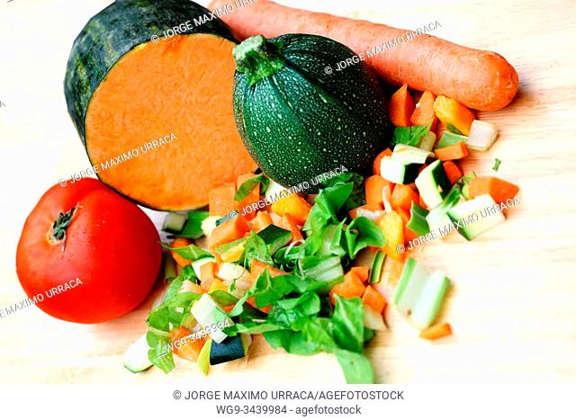 Chopped vegetable with tomato, pumpkin and carrot
