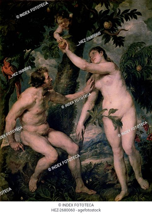 Painting by Peter Paul Rubens (1577 - 1640) 'Adam and Eve', copy of Titian's painting, kept in th?