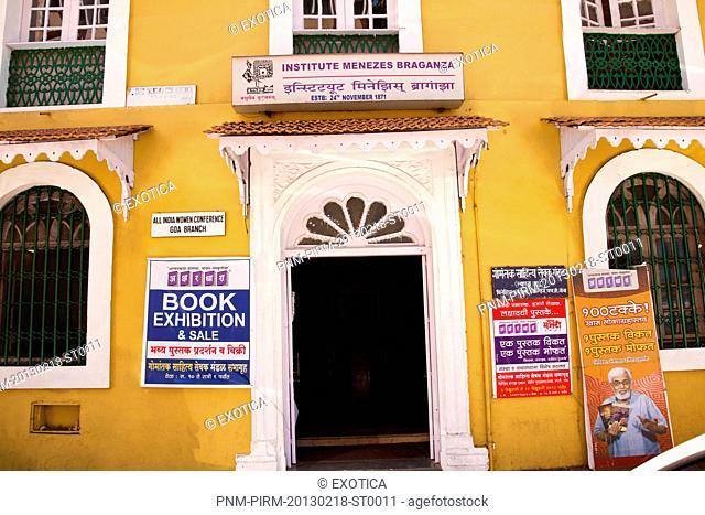 Facade of a building, Institute Menezes Braganza, Panaji, Goa, India