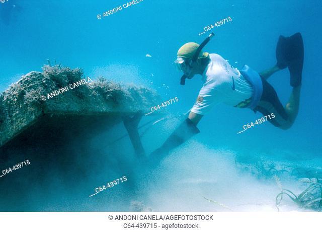 Lobster fishing in Yucatan. Caribbean sea. Punta Allen. Mexico
