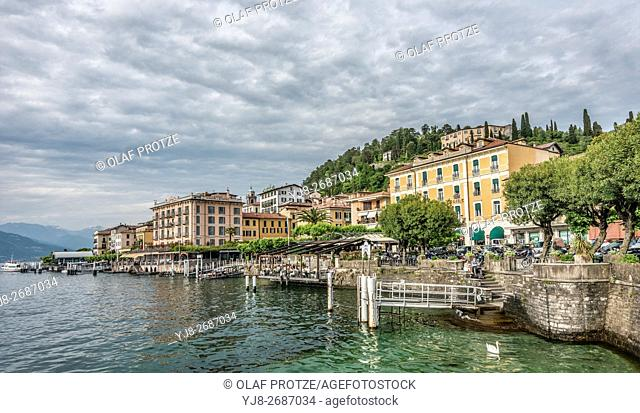 Waterfront of Bellagio at Lake Como seen from the lakeside, Lombardy, Italy