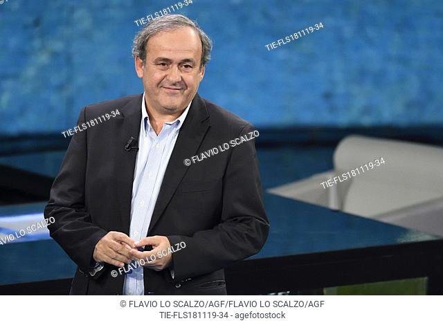 Former fooball player Michel Platini during the tv show Che tempo che fa, Milan, ITALY-17-11-2019