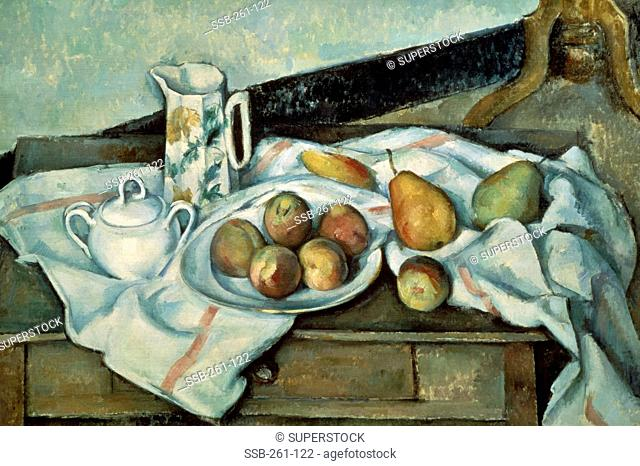 Peaches and Pears 1888-1889 Paul Cezanne 1839-1906 French Oil on Canvas Museum of Modern Western Art, Moscow, Russia