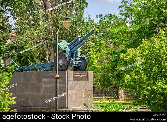 Soldiers-Liberators in the center of Kherson, Ukraine, on a sunny summer day