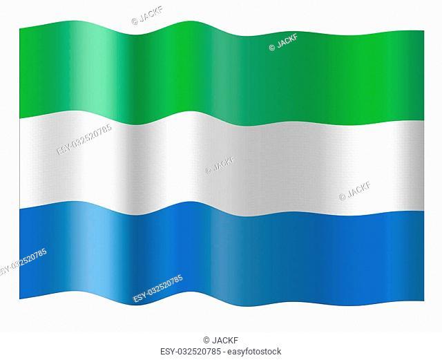 Flag of Sierra Leone. Illustration over white background
