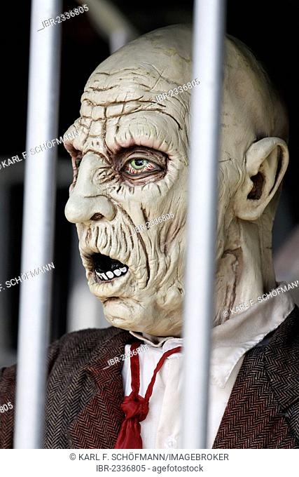 Man behind bars, desperate face, haunted house figure, Germany, Europe
