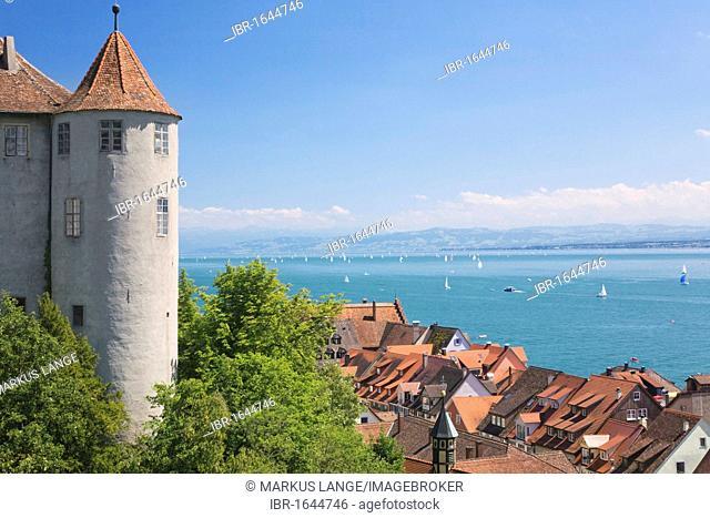 View of Meersburg castle, also known as Alte Burg castle, in Meersburg and Lake Constance, Baden-Wuerttemberg, Germany, Europe