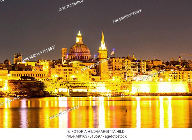 Looking from Gzira over Marsamxett Harbour to Valletta with the St. Paul's Pro-Cathedral and Basilica of Our Lady of Mount Carmel