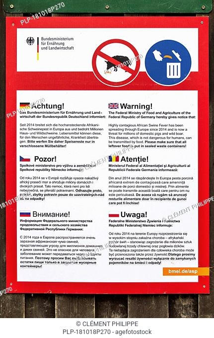 Notice board / placard in many European languages warning about African swine fever, highly contagious disease affecting domestic pigs and wild boar