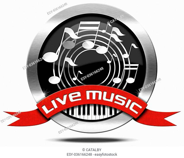 Metal icon or symbol with white musical notes, piano keyboard, red ribbon with text live music. Isolated on white background