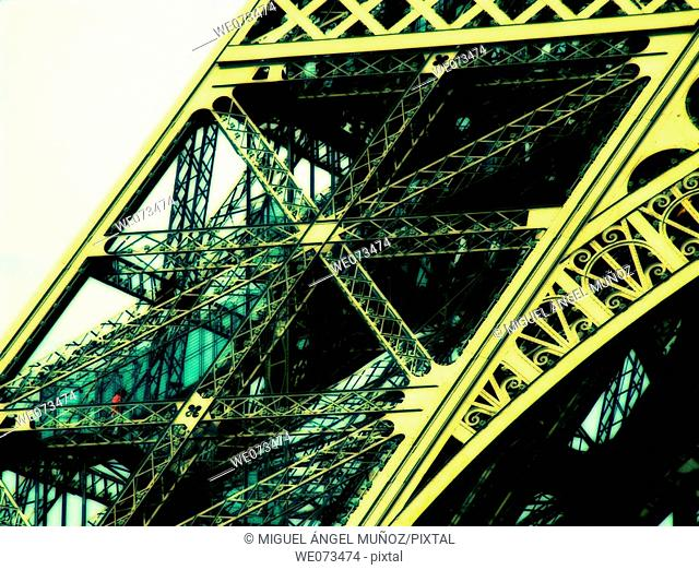 Eiffel tower. Iron tower built by Gustave Eiffel betweeen 1887 - 1889 as the entrance arch for the Exposition Universelle (World's Fair) on the centennial...