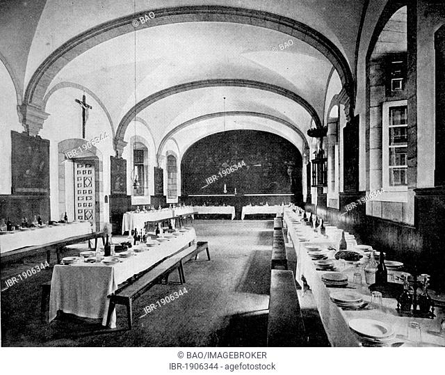 One of the first autotype photographs of the refectory of the Monastery of Loyola, Spain, circa 1880