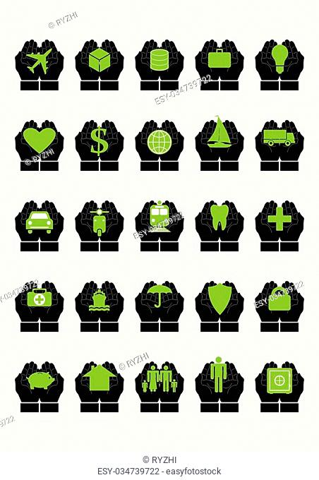 Protective hands insurance set. Every icon composed of protective hands covering something, like transport, cargo, savings, health, family, house, income