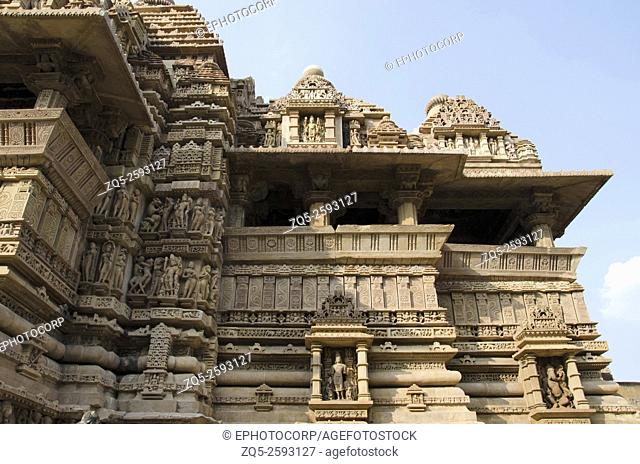 LAKSHMANA TEMPLE: South Wall, Base : - Niches with deities, Western Group, Khajuraho, Madhya Pradesh, India, UNESCO World Heritage Site
