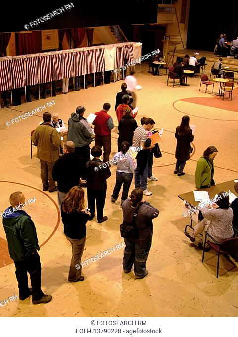 Montpelier, VT, Vermont, City Hall, interior, Election Day, 2004, Voting Booths