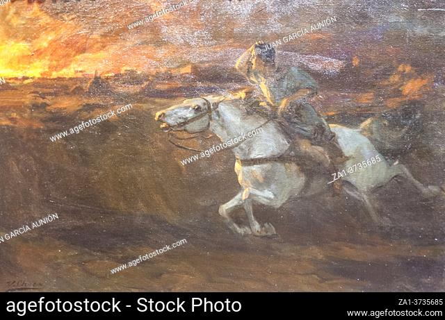 Vinicius run out at full gallop to burning Rome for rescue Ligia. Quo Vadis novel scene. Painted by Ulpiano Checa in 1901