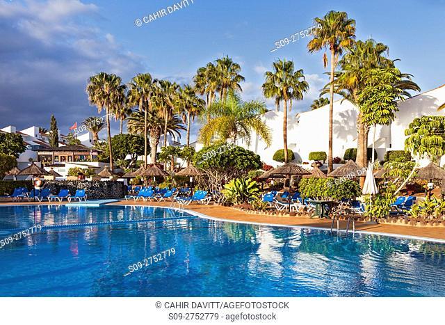 Holiday apartment complex and pool in Golf del Sur, Santa Cruz de Tenerife, Tenerife, Canarias, Spain