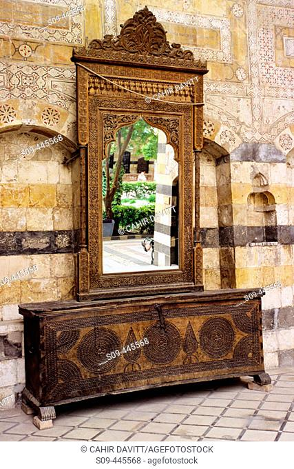 Furniture chest and mirror in the Azem palace, Damascus. Syria