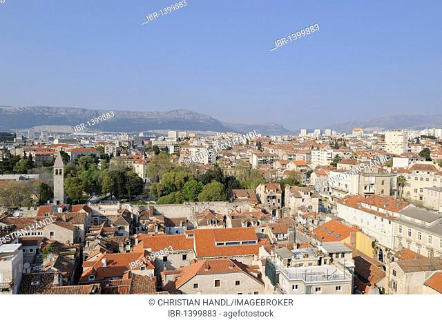 Overlooking the historic town centre from the campanile of the Cathedral of St. Duje, Split, Croatia, Europe