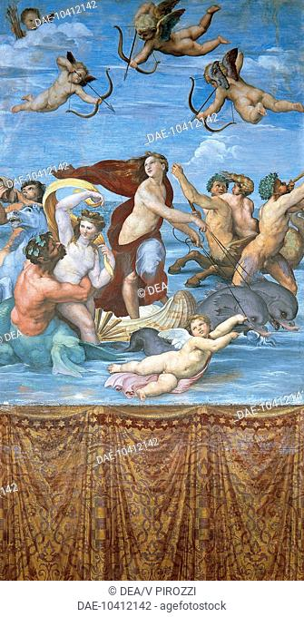 Triumph of Galatea, ca 1511 , by Raphael (1483-1520), fresco, 295x225 cm. Villa Farnesina, Hall of Galatea, Rome