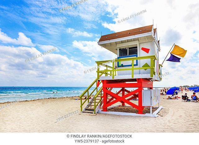 Lifeguard shelter on South Beach, Ocean Drive, Miami, Florida, America