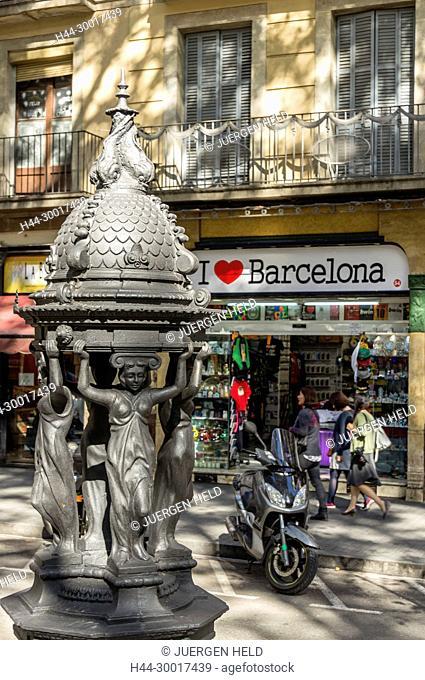 Spain, Catalonia, Catalunya, Barcelona, La Ramblas, art deco fountain