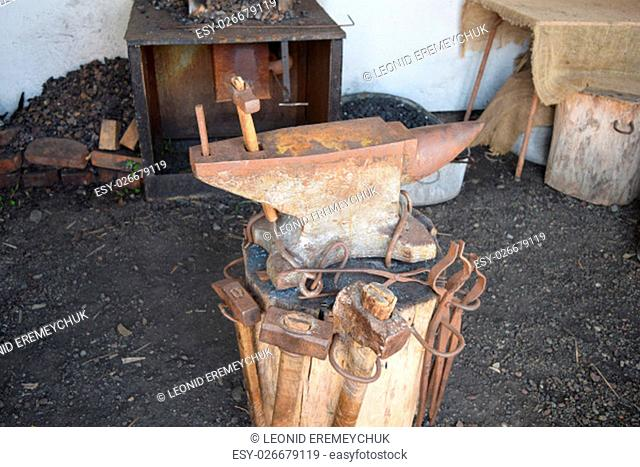 Old forge anvil. Reconstruction of life of Cossacks of Kuban