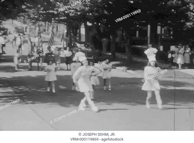 1936 Independence Day, July 4, parade marches down St. Louis, Mo. Street and celebrates America's birthday