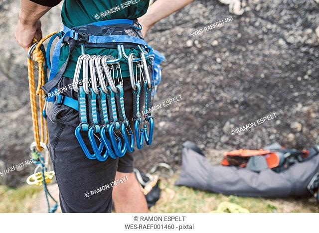 Close-up of climber with climbing equipment