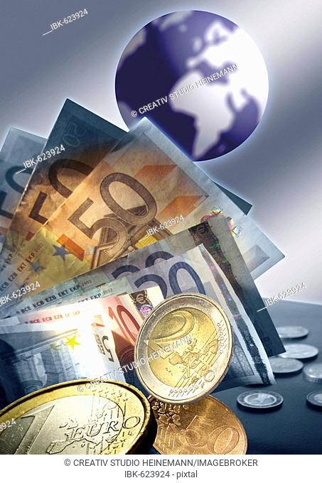 Euro bills and flying Euro coins in front of globe - Composing