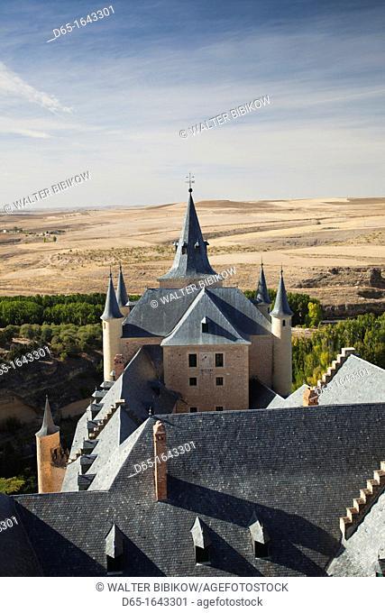 Spain, Castilla y Leon Region, Segovia Province, Segovia, elevated view of The Alcazar
