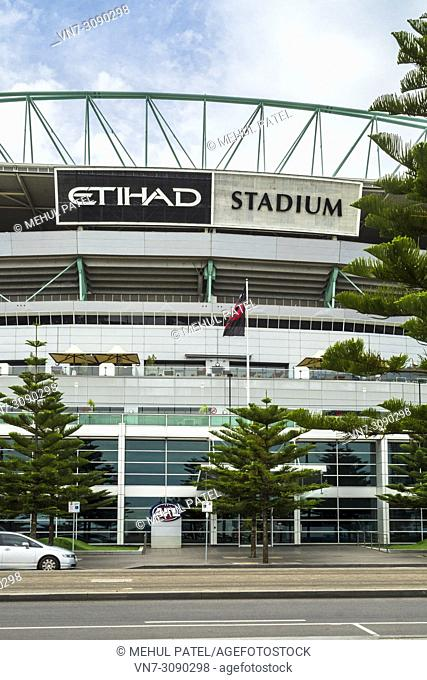 Exterior of Docklands Stadium with signage of current sponsor Etihad, Docklands, Melbourne, Victoria, Australia. Docklands Stadium