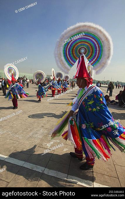 Totonacan indigenous dancers from Papantla-Veracruz in traditional costumes, perform the Dance of the Guaguas at the pilgrimage to Our Lady of Guadalupe...