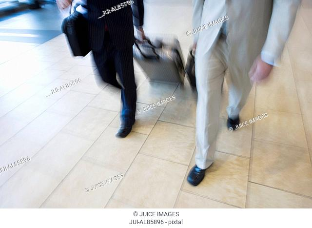 Two businessmen pulling suitcases