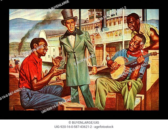 Mississippi African Americans Enteratin by a Steamboat