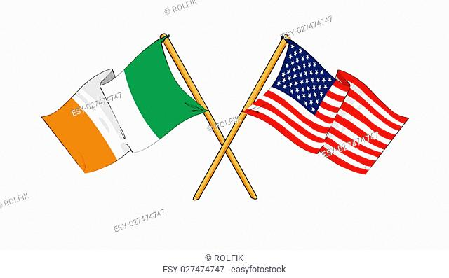 cartoon-like drawings of flags showing friendship between Republic of Ireland and USA