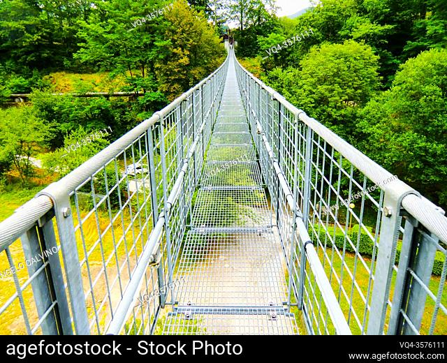 Ponte Sospeso, made in 1920 by Vincenzo Douglas Scotti (1877 - 1937), 212 meter long, the longest pedestrian suspended bridge in the world