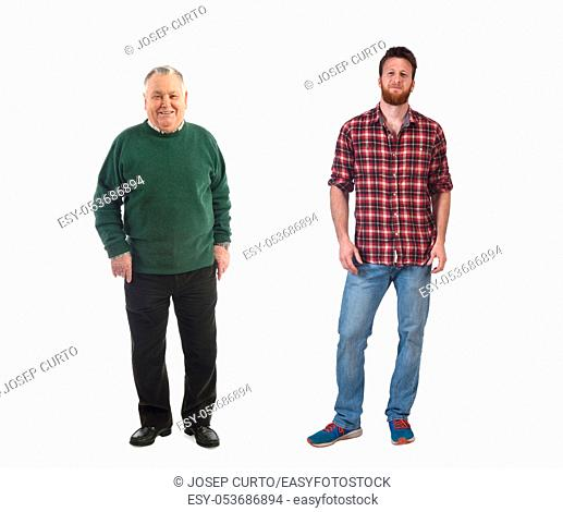 an older man with a young man on white background