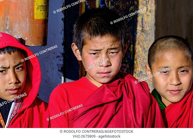 Novice monks at the monastery in Bhutan