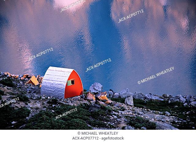 Alpine hut, Wedgemount Lake, Garibaldi Provincial Park, British Columbia, Canada