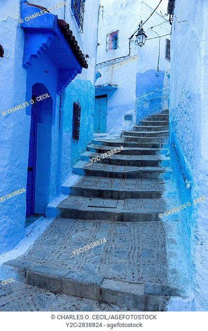 Chefchaouen, Morocco. Narrow Street on a Hill in the Medina