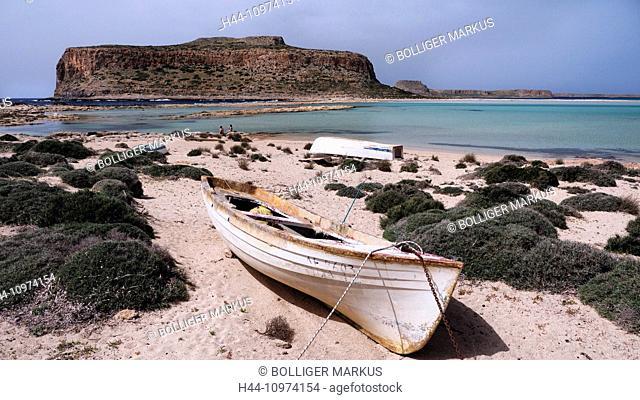 Akrotiri Tigani, Balos, blue, boat, bay, Gramvousa, Greece, Europe, peninsula, island, isle, Crete, Mediterranean, sea, pirate bay, province Chania