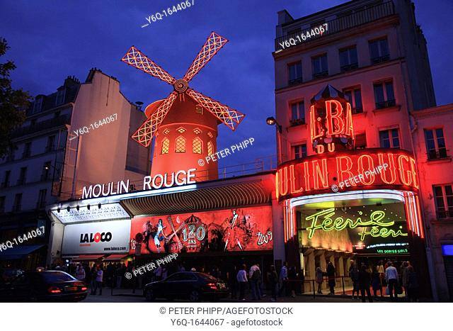 The Moulin Rouge Theatre in Paris France