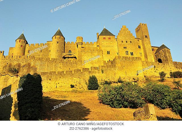 The Fortified Citadel, XIIIth-XIXth centuries. Carcassonne city, Aude department, Languedoc-Roussillon region, France
