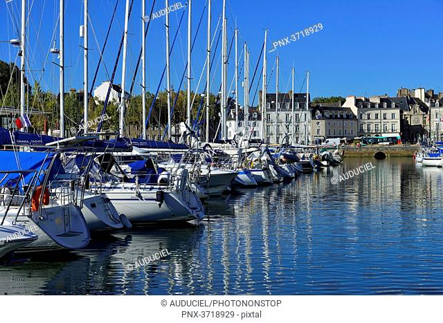 Europe, France, forest of masts and building facades from the port of Vannes in the Morbihan
