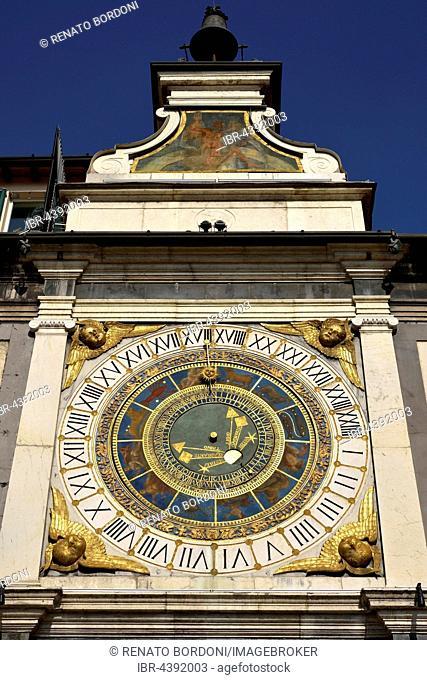 Clock tower with historical astronomical clock, Piazza della Loggia, Province of Brescia, Lombardy, Italy